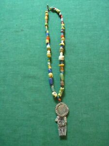 """Fabulous altered art necklace handmade 2.75"""" charm African glass trading beads"""