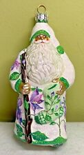 Patricia Breen Reisdorf Floral Santa Wisteria Blown Glass Glitter 2002 #2297