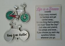 e Bike Keep on rollin bicycle LIFE IS A BREEZE pocket charm message token ganz