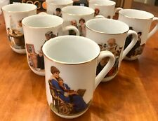 Norman Rockwell Mugs Set Of 8 Gold Trim