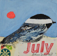 Miniature Chickadee Bird Impasto Animal Painting JULY Katie Jeanne Wood