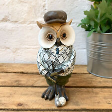 Wooden Painted Carved Working Golfer Owl Figurine Sculpture Statue Ornament Gift