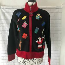 Karen Scott ugly Christmas sweater stitched decals