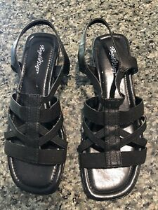 NEW Angel Steps Black Leather Gladiator Sandal Size 9 1/2 W