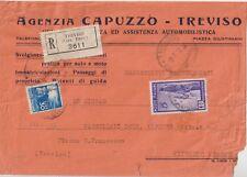 ITALY 1949 15L ERP+30L DEMOCRATIC ON REGISTERED COVER TO VITTORIO VENETO TREVISO