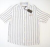 ALLSAINTS Mens FOLSOM Shirt Size L Short Sleeve Black Striped RRP $159.95 NWT