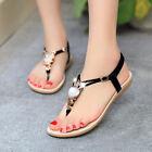 Womens Sandals Gladiator Shoes Thong T Strap Flip Flops Flats Summer Beach Shoes