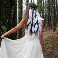 Indian White Feather Bead Bride Hairband Bohemia Headband Hair Rope Headdress