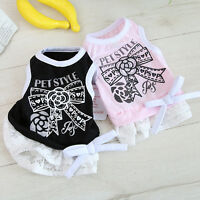 Elegant Bow Dog Clothes Summer Dress Pet Puppy Poodle Skirt Apparel XS S M L XL
