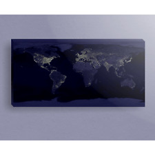 Earth Shot of City Lights Around World 10x24 Canvas Gallery Wrap Wood Frame