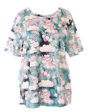 T-76 Blu Einhorn Arcobaleno Stelle Fantasia T-Shirt Pastel Goth Lolita Kawaii