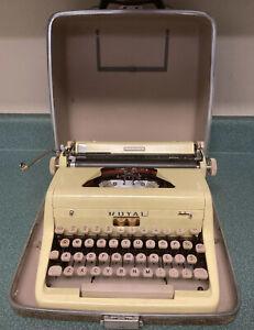 1955?  Yellow Royal Quiet Deluxe Typewriter W/ Case - Working