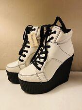 White Black Stitching Platform High Heeled Wedge Lace Up Ankle Boot Shoe Sz 5.5