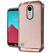 LG ARISTO LV3 K8 2017 ROSE GOLD LEATHER LOOK IMPACT CASE HEAVY DUTY RUGGED COVER
