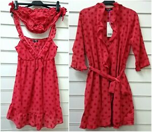 Ladies Sheer Chiffon Red Short Dressing Gown Robe or Baby Doll Set UK Size 14