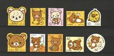 JAPAN 2017 GREETINGS RILAKKUMA RELAX BEAR COMP. SET OF 10 STAMPS IN FINE USED