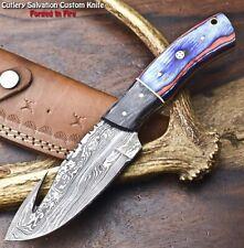 Cutlery Salvation Handmade Damascus Skinning Blade Camping Full Tang Knife