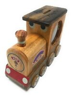 Personalised Wooden Large Train Money Box Christening Birthday Baby Gift