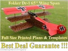 "Fokker DR1 65"" WS Giant Scale RC Airplane Full Size PRINTED Plans & Templates"
