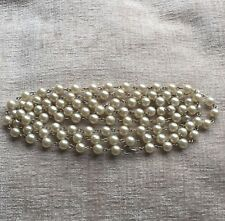 Faux Pearl Necklace Vintage Retro 1980s Single Strand Wired Classic Claspless