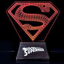 Superman Acrílico Logo Luz Dc Comics Escritorio Noche HUMOR Lámpara