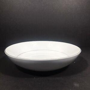 "Southwicke Porcelain China Serving Vegetable Bowl 9"" White Lace Platinum Rim"