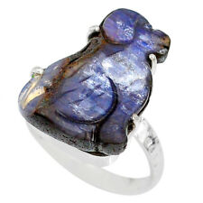 Silver Solitaire Ring Size 8.5 R79611 14.69cts Natural Boulder Opal Carving 925