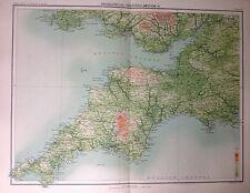 Características geográficas de Inglaterra e Gales 4 antiguo mapa c1898 Bartolomé grandes