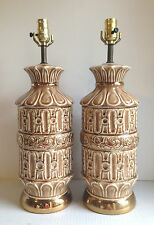 Retro Table Lamps Matching Pair Of Ceramic Lamps Brown With Shiny Gold Tested