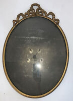 "Antique Brass Photo Frame Oval Convex Glass Ornate Holds 13.5x10.5"" Picture"