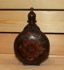 Vintage hand made folk pyrography wood brandy flask bottle