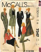 Vintage McCall's # 7347 Sewing Pattern Misses Jacket Vest Pants And Skirt Size 7
