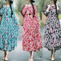 ZANZEA Women Long Batwing Shirt Dress Floral Print Kaftan Oversize Midi Dress