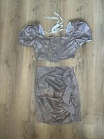Misspap Glitter Corset Top And Skirt Co Ord Size XS Brand New