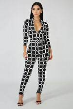 Womens Black and White Spandex Long Sleeve Skinny Jumpsuit