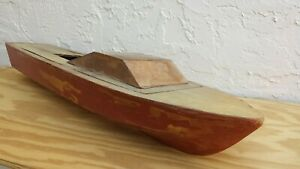 Large Wood Boat Model, cabin cruiser, runabout, speed