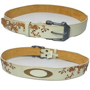 Oakley Belt Cowhide Leather Big O Logo Floral Engraved Women's Medium