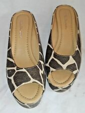 CL LAUNDRY  NEW SHOES ANIMAL PRINT , DATE NIGHT WEDGE HEEL OPEN TOE SIZE 9/40