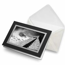 Greetings Card (Black) BW - Chichen Itza Ancient Temple Mexico  #36445