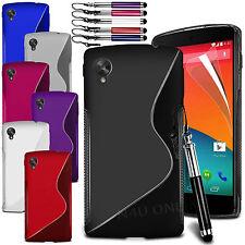 Línea En S Onda Funda de GEL ,Película y Pluma Retráctil Para LG Nexus 5