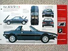 FIAT X1/9 x-1/9 SPEC Hoja/Catálogo/CATALOG : 1979 , ....