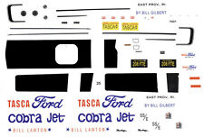 Bill Lawton Tasca Ford Cobra Jet 1/43rd Scale Waterslide Slot Car Decals Drag