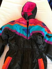 Vintage 90s Snow Suit. Kidfusion Size 16 1/2 Neon Pink Teal Orange Purple Blue