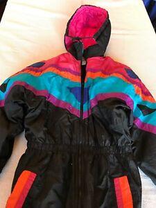Vintage 90s Snow Suit. Kidfusion Size 16 1/2 Neon Pink Teal Orange Purple Blue