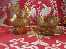 rare dejeuner pot tasse verre de boheme gravé antique bohemian glass XIXe chasse