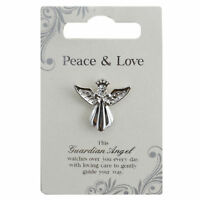 Peace & Love Silver Coloured Angel Pin With Gem Stone Sentimental Gift Idea
