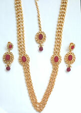 Indian Bollywood Gold Red Polki Jewellery set Haar Necklace, Earring and Tikka