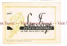 Unused 1940s BOLIVIA La Paz SAN JORGE Pisco Insuperable (olive green) Wine Label