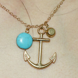 Womens anchor Pendant Chain Necklace Gold turquoise Gold Filled Jewelry Choker