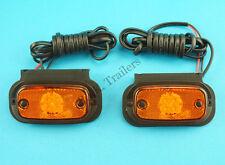 2 x Perei LED 12v 24v Amber Side Marker Lamp & Horizontal Bracket #F707 #TR